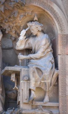 Der Jüngling Jesus bei Zimmermannsarbeiten