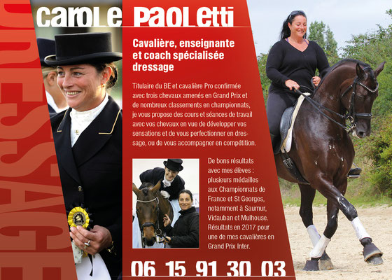 Flyer Carole Paoletti coaching dressage
