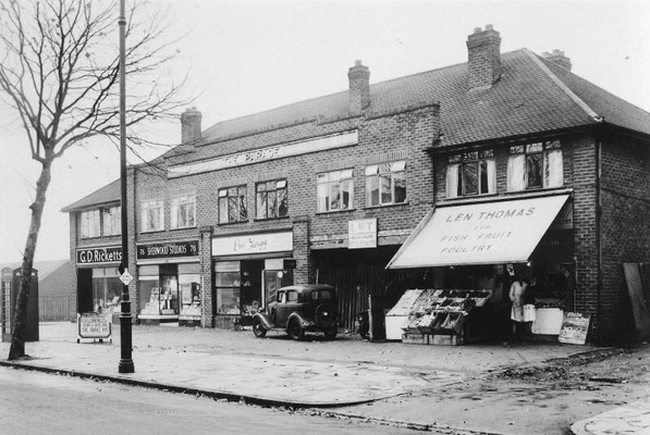 Shops near Cottesbrook Road, 1949  (Birmingham Libraries)