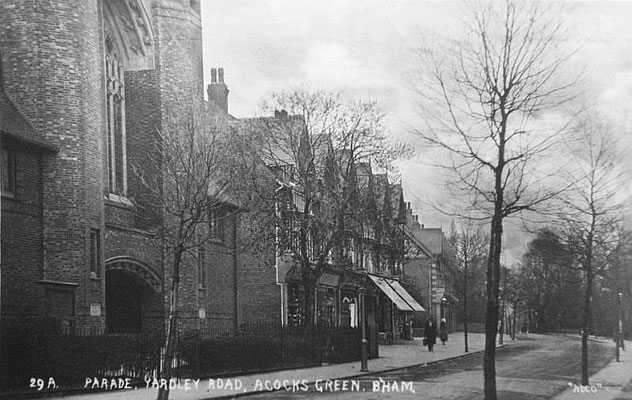The Baptist church and new shops, c. 1915