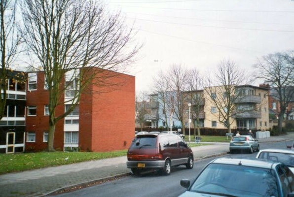 Flats, Aspen Close, c. 1976, with Glyde Court beyond, 2002