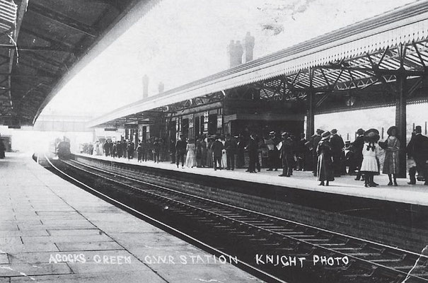 Commuters wait at the extended station, c. 1907