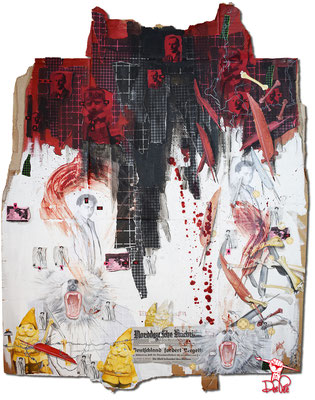 Art.144: Herrenrasse XLIV, Herschel & Ernst II, 10/2016, 143 x 140cm, mixed media (collage, acrylic colours & blood) on corrugated cardboard