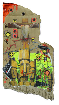 Art.092: adora quod incendisti, incende quod adorasti! XIV: Holy Cock I, June 2015, 50 x 27,5 cm, mixed media on corrugated cardboard