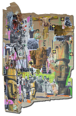 Art.095: in nomine patris II, Herrenrasse I, Aug. 2015, 188 x 115 cm, mixed media on corrugated cardboard