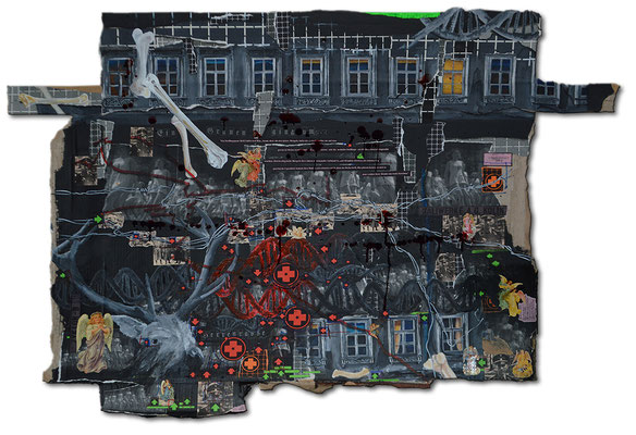 Art.125: Herrenrasse XXV, March 2016, 93 x 133cm, mixed media (collage, acrylic colours & blood) on corrugated cardboar