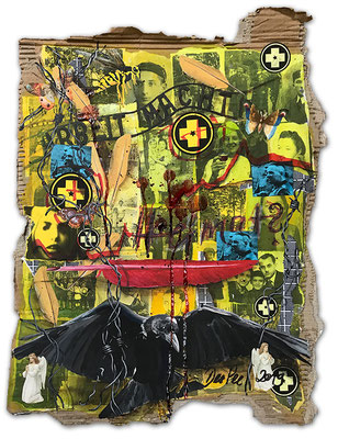 Art.160: Herrenrasse 2.0 – Remember Me.0: Heimat, July 2019, 55 x 42cm, mixed media (collage, acrylic colours and   blood) on corrugated cardboard