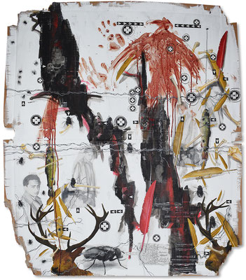 Art.148: Herrenrasse XLVIII – Mind the Gap IV - Blutadler, 12/2016, 143 x 122cm, mixed media (collage, acrylic colours &   blood) on corrugated cardboard
