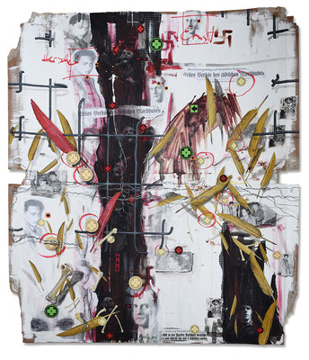 Art.146: Herrenrasse XLVI – Mind the Gap II, 11/2016, 143 x 122cm, mixed media (collage, acrylic colours & blood) on corrugated cardboard