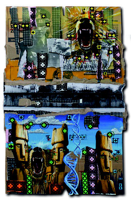 Art.115: Herrenrasse XVII Jan.2016, 117 x 66cm, mixed media (collage & acrylic colours) on corrugated cardboard