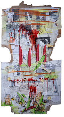 Art.141: Herrenrasse XLI, Four Red Feathers too, 09/2016, 177 x 93cm, mixed media (collage, acrylic colours & blood) on corrugated cardboard