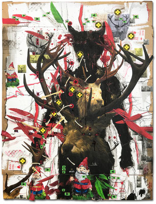 Art.151: Totem & Taboo I – Deer Hunter, 10/2017, 162 x 122cm, mixed media (collage, acrylic colours & blood) on   corrugated cardboard