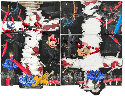 Art.159: The Raven's Flight (Totem & Taboo IX) 05/2018, Diptychon 2 times 130 x 86 cm, mixed media (collage, acrylic   colours & blood) on corrugated cardboard
