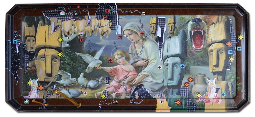 Art.081: Jesus und Maria, 01/2015, 63 x 128cm, Mischtechnik (Collage & Acrylfarben auf  gerahmtem Kunstdruck der 1920er Jahre)