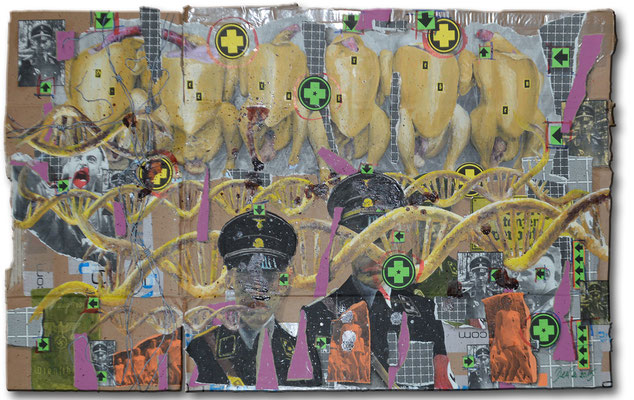 Art.110: Herrenrasse XII Dec. 2015. 63 x 106cm, mixed media (collage, acrylic colours & blood) on corrugated cardboard