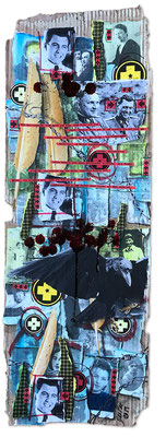 Art.165: Herrenrasse 2.0 – Remember Me.5: Mengele's Smile 2, Sept. 2019, 75 x 27cm, mixed media   (collage, acrylic colours and blood) on corrugated cardboard