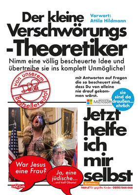 """""""Der kleine Verschwörungstheoretiker"""" Parodie auf die Buchreihe 'Jetzt helfe ich mir selbst' des motorbuch-Verlags aus den 1070ern."""