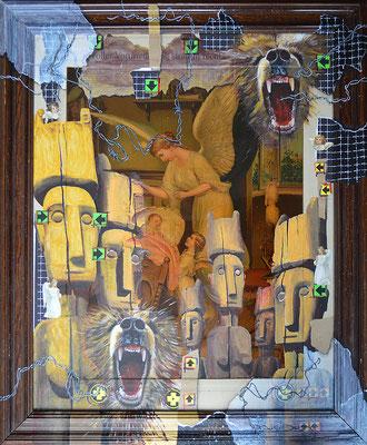 Art.083: adora quod incendisti, incende quod adorasti: Guardian Angel Too, 02/2015, 71 x 59cm, Mischtechnik (Collage & Acrylfarben auf gerahmtem Kunstdruck der 1920er Jahre)