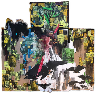 Art.163: Herrenrasse 2.0 – Remember Me.3: in nomine patris, Sept. 2019, 160x165cm, mixed media (collage, acrylic colours and blood) on corrugated cardboard