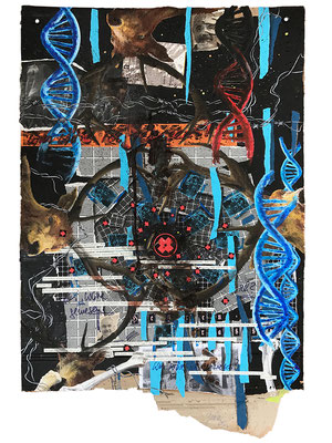 Art.114: Herrenrasse XVI, Jan. 2016, 78 x 58cm, mixed media (collage & acrylic colours) on corrugated cardboard