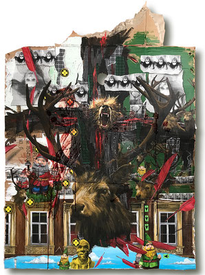 Art.153: 153 Totem & Taboo III, 12/2017, 175 x 125cm, mixed media (collage, acrylic colours & blood) on corrugated cardboard