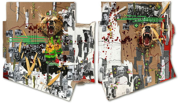 Art.162: Herrenrasse 2.0 – Remember Me.2: 'Gute Laune bei den Massenmördern', Sept. 2019,  Diptychon 120 x 110cm   + 120 x 93cm, mixed media (collage, acrylic colours and blood) on corrugated cardboard