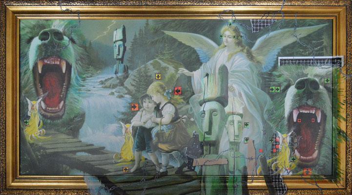 Art.082: adora quod incendisti, incende quod adorasti: Guardian Angel, 02/2015, 60 x 111cm, Mischtechnik (Collage & Acrylfarben auf gerahmtem Kunstdruck der 1920er Jahre)
