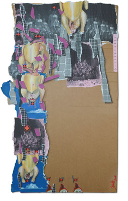 Art.126: Herrenrasse XXVI, April 2016, 93 x 54cm, mixed media (collage, acrylic colours) on corrugated cardboard