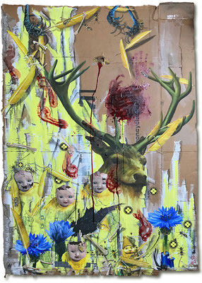 Art.156: Speaking in Tongues I (Totem & Taboo VI) 02/2018, 185 x 124 cm, mixed media (collage, acrylic colours & blood)   on corrugated cardboardArt.