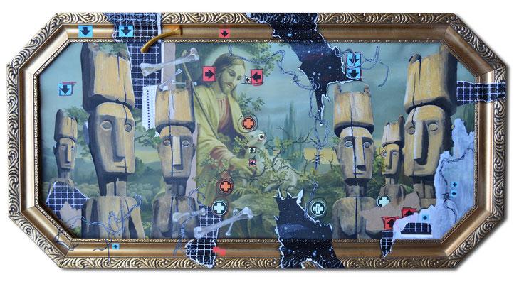 Art.079: adora quod incendisti, incende quod adorasti V: The Good Shepherd, 12/2014, 39 x 80cm, Mischtechnik (Collage & Acrylfarben auf gerahmtem Kunstdruck der 1920er Jahre)