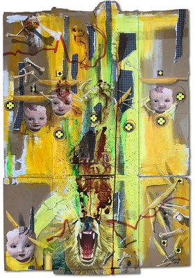 Art.155:  Totem & Taboo V – Listening to Voices, 01/2018, 153 x 98cm, mixed media (collage, acrylic colours & blood) on   corrugated cardboard