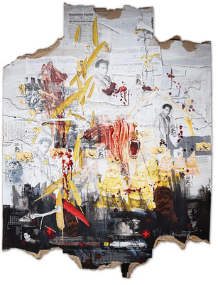 Art.142: Herrenrasse XLII, Herschel & Ernst, 10/2016, 177 x 144cm, mixed media (collage, acrylic colours & blood) on corrugated cardboard