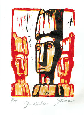 Art.088: Die Wächter March 2015, 3 colours linocut DIN A 5 (paperformat DIN A 4) edition of 14