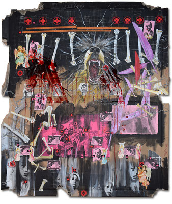 Art.143:Herrenrasse XLIII, Herschel & Ernst – The dark Side, 09/2016, 143 x 122cm, mixed media (collage, acrylic colours &   blood) on corrugated cardboard
