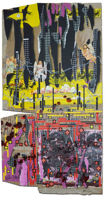 Art.118: Herrenrasse XX Feb. 2016, 103 x 55cm, mixed media (collage, acrylic colours & blood) on corrugated cardboard