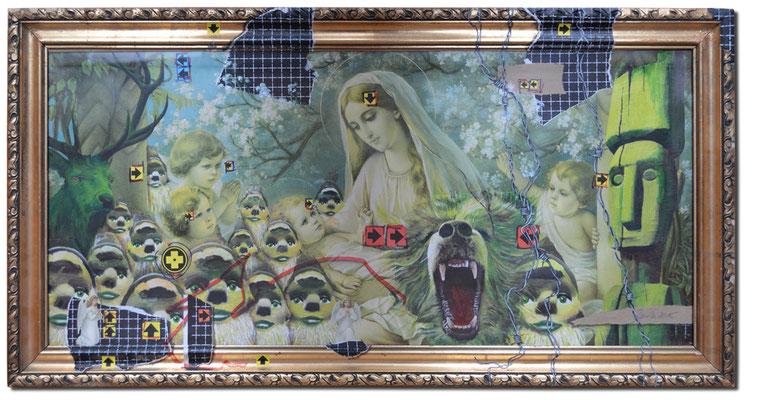 Art.084: adora quod incendisti, incende quod adorasti: Jesus, Mary n'Dwarfs, 02/2015, 71 x 59cm, Mischtechnik (Collage & Acrylfarben auf gerahmtem Kunstdruck der 1920er Jahre)