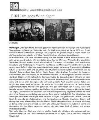 "Zeitungsartikel in ""Blick aktuell"", Mayen, 24.03.17"