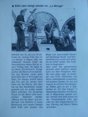 "Zeitungsartikel ""Eifel-Jam"", Mayen, 16.06.2017"