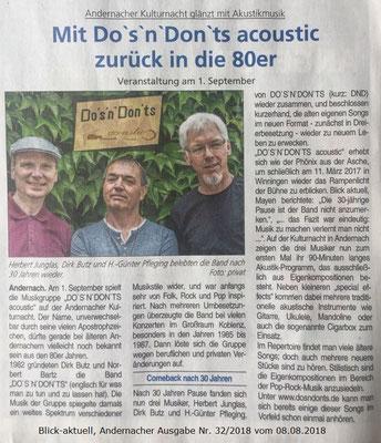 """Vorankündigung für """"Kulturnacht Andernach"""" am 01.09.2018"""