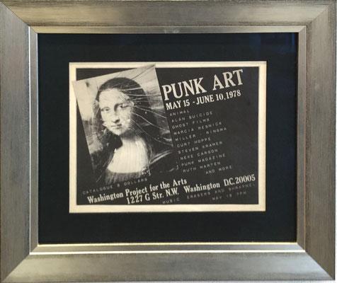 WPA Washington Punk Art Exhibition, 1978, Extrem seltenes original Punk Art Poster mit eingeschlagenerm Frontglas, erfaßt von Curt Hoppe 21x28 cm