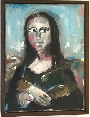 Jean-Yves Klein Donna Liza 2018, Öl auf Leinwand, 40x30 cm