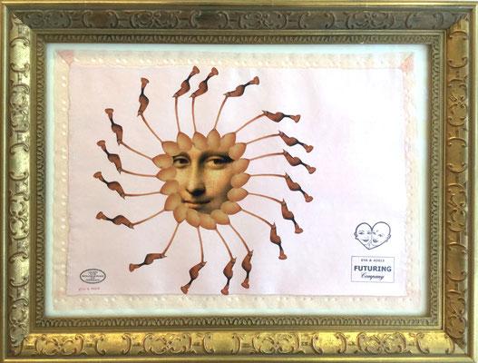 EVA&ADELE Mona Erotic, Collage, 2008, Gouache und Stempel auf handgemachten Bütten mit Lingerie- Spitze