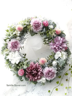 アンティークピンクの造花リース af-84