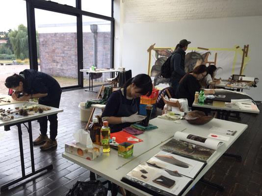 ロストック市立美術館 制作スペース, 制作中。Work Space in Kunsthalle Rostock, - Artist has worked.