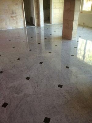 Magnifique sol en marbre de Carrare poli avec des cabochons de marbre noir