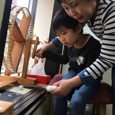 糸車、小倉織体験