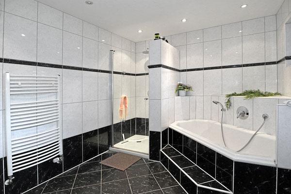 Dusche und grosse Badewanne