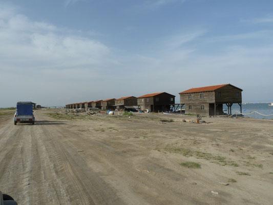 vissershuisje, Kolpos, rivierdelta Axios