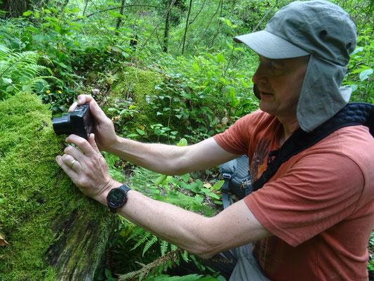 Martin fotografeert salamander, foto Anton