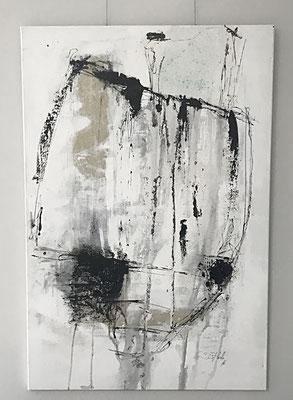 Salute, Acryl, Bitumen und Pigmente auf Leinwand, 120 x 80 cm